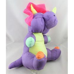 Peluche Puffalump dragon dinosaure violet jaune rose vert orange