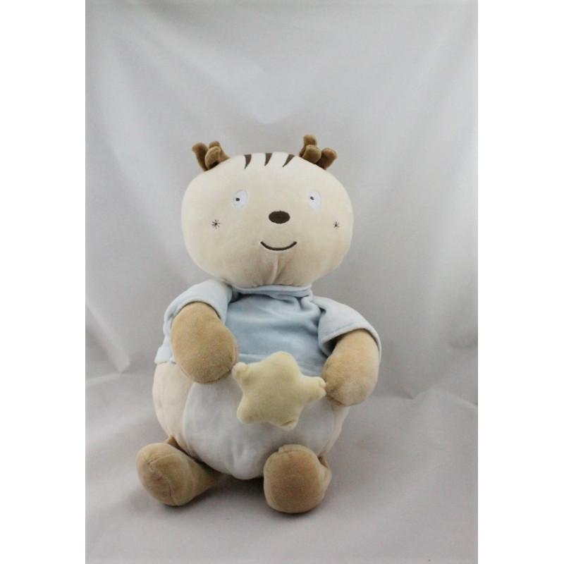 Doudou range pyjama écureuil beige bleu blanc Sucre d'orge