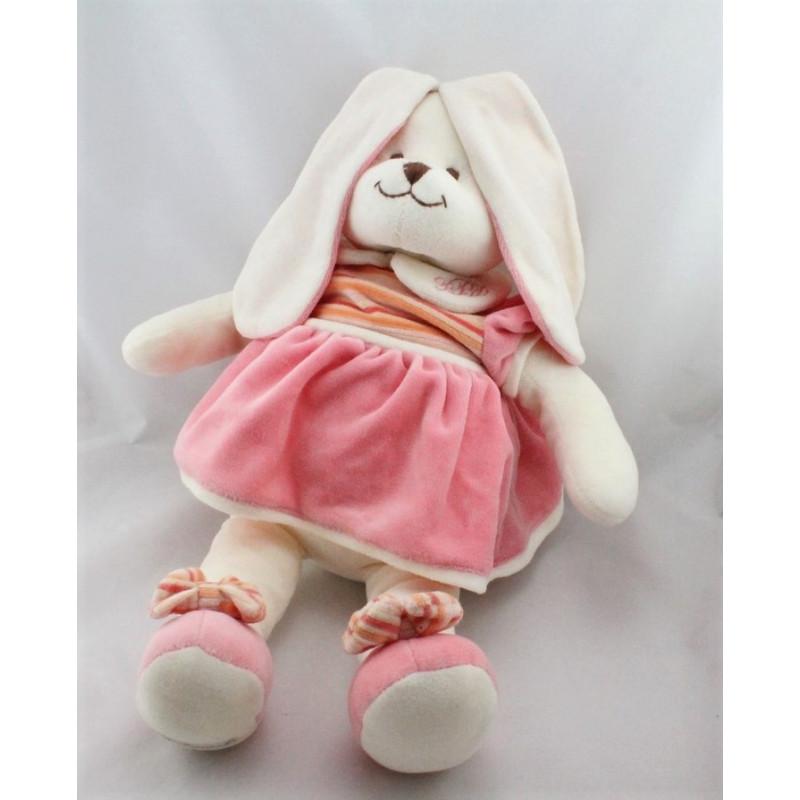 Grand Doudou lapin blanc rose rayé orange BUKOWSKI