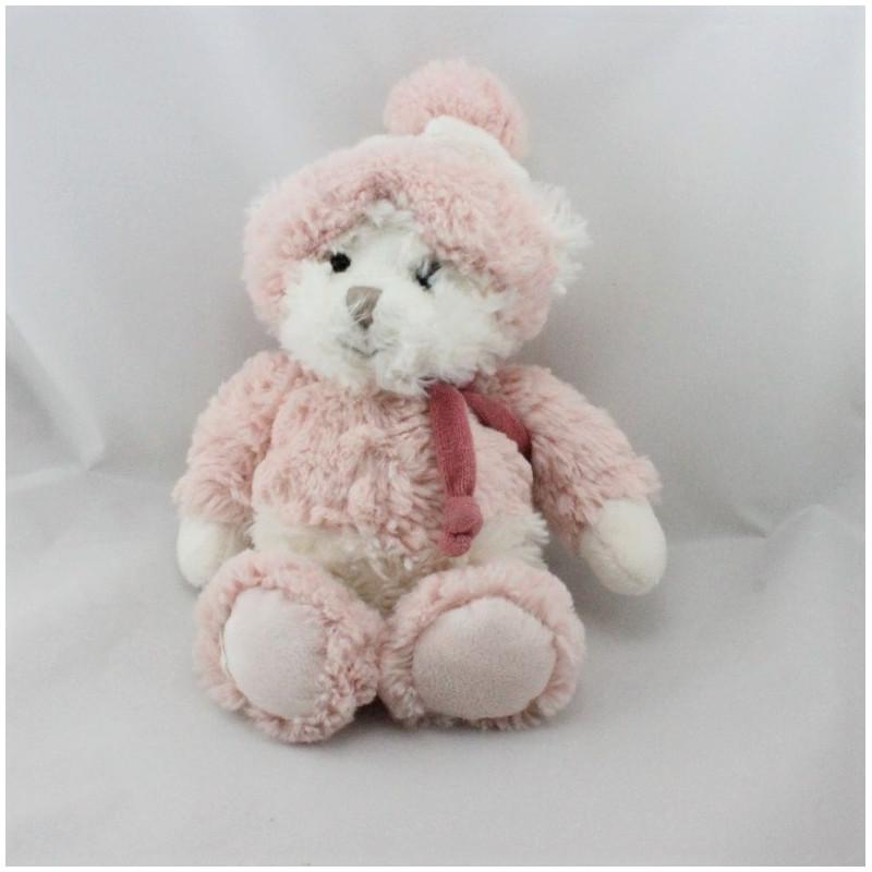 Doudou Peluche ours blanc rose tout doux BUKOWSKI