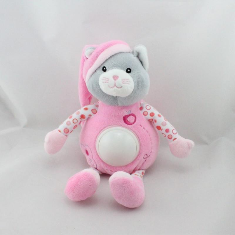 Doudou veilleuse chat rose pois pommes GIPSY