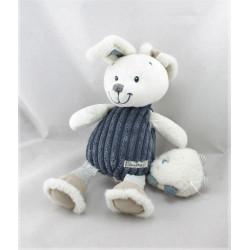 Doudou musical lapin blanc bleu marine baby NICOTOY