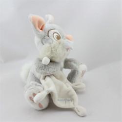 Doudou lapin gris Pan-pan Panpan avec mouchoir DISNEY