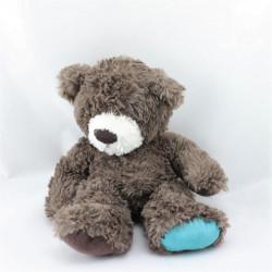 Doudou peluche ours brun marron bleu CARRE BLANC