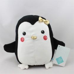 Doudou manchot pingouin noir blanc doré TEX BABY