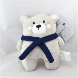 Doudou ours gris beige écharpe bleu KIMBALOO