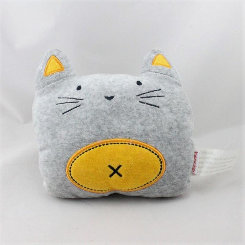 Doudou chat gris jaune BRIOCHE