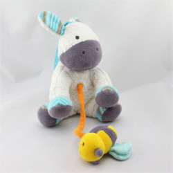 Doudou musical poney cheval blanc bleu violet NATURE ET DECOUVERTE