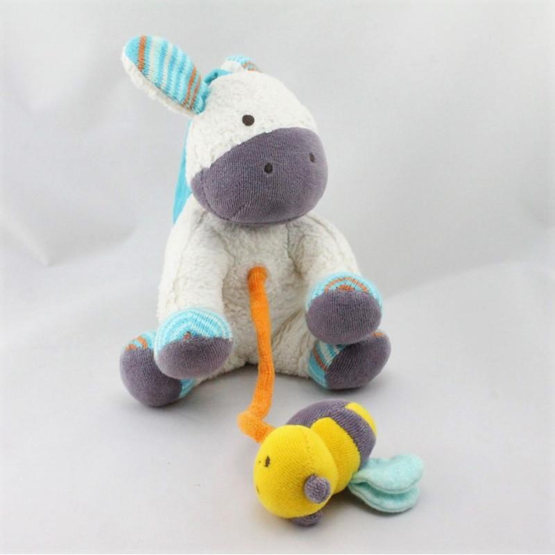 Doudou musical poney cheval blanc bleu violet NATURE ET DECOUVERTE