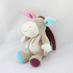 Doudou ane poney cheval beige rose bleu BABYSUN