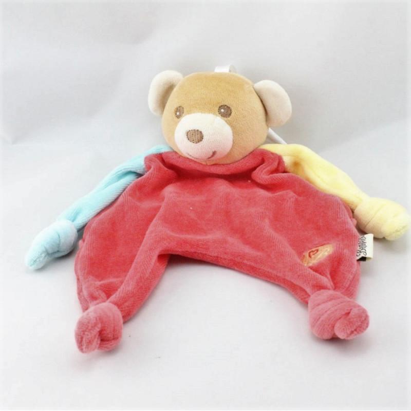 Doudou plat ours rouge jaune bleu BESTEVER 2009