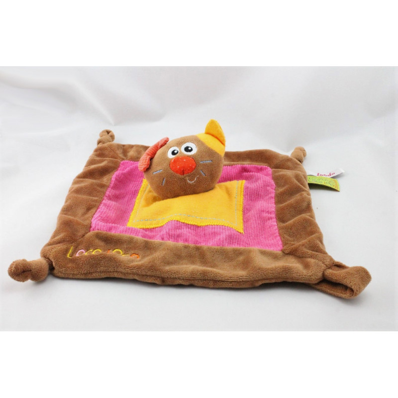 Doudou plat chat marron rose jaune Loco TOODO