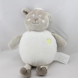 Doudou mouton gris blanc coeur KIMBALOO
