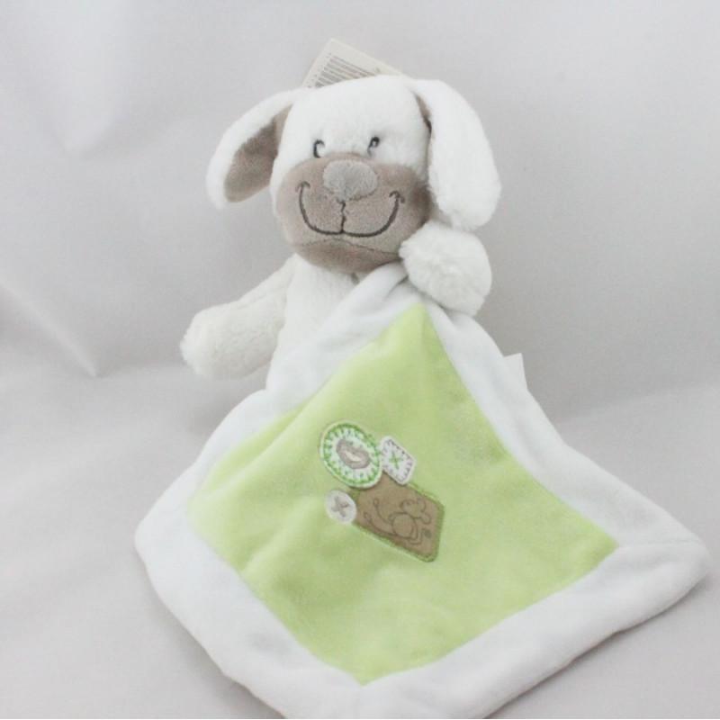 Doudou chien blanc avec mouchoir vert NICOTOY