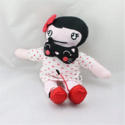Doudou poupée blanc rose coeurs chat noir LA HALLE