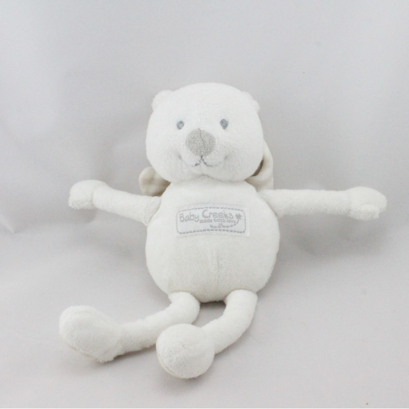 Doudou ours blanc ange ailes rayées BABY CREEKS