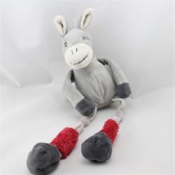 Doudou ane gris rouge aux longues pattes LES PETITES MARIE