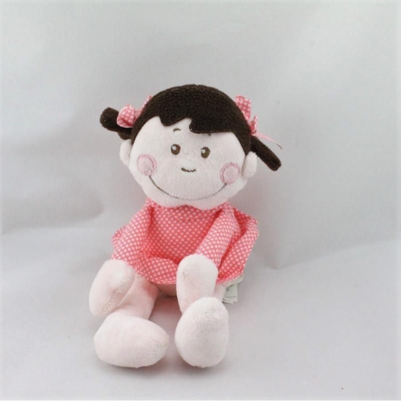 Doudou poupée fille robe rose pois KIMBALOO
