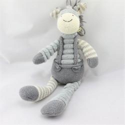 Doudou ane cheval gris rayé laine HISTOIRE D'OURS