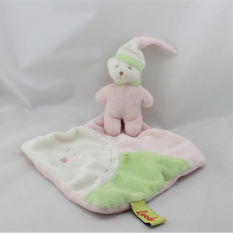 Doudou plat ours rose blanc vert mouchoir TOODO