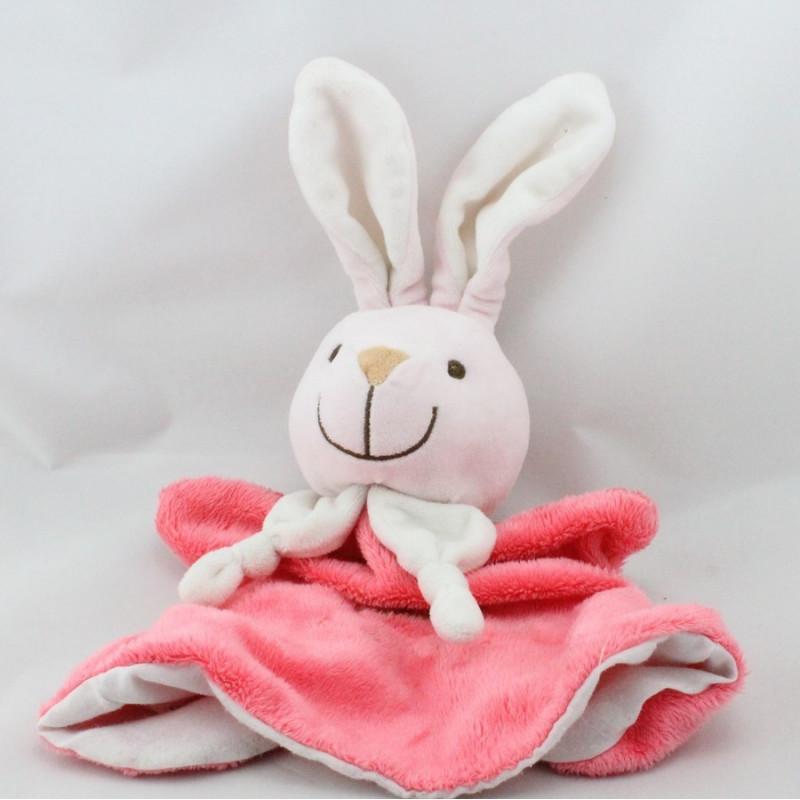 Doudou marionnette lapin rose landau PLAYKIDSAYKIDS