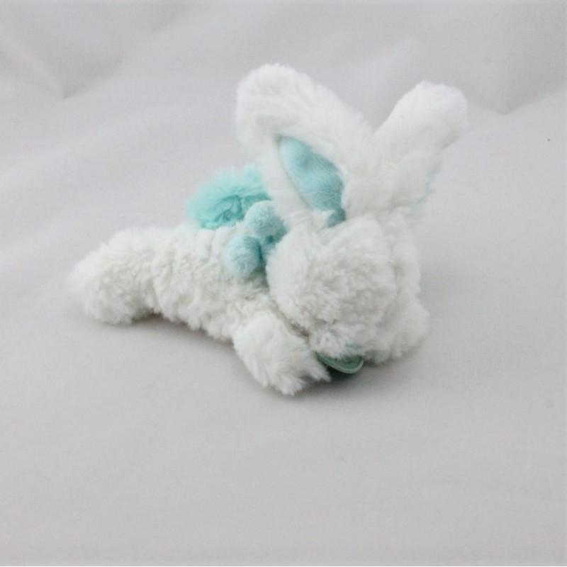 Doudou et compagnie lapin blanc bleu Pompon attache tétine