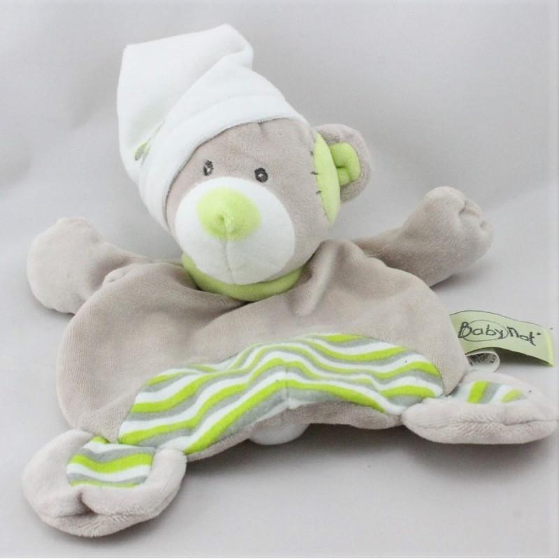 Doudou plat ours gris vert blanc rayé BABY NAT