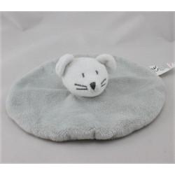 Doudou plat rond souris grise GRAIN DE BLE