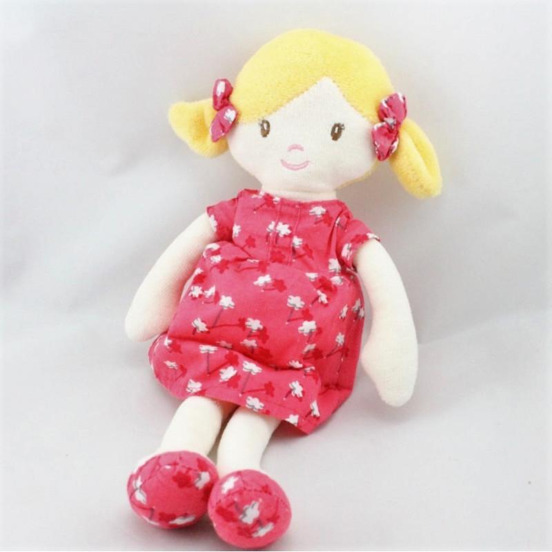 Doudou poupée fille blonde robe rose fleurs OBAIBI