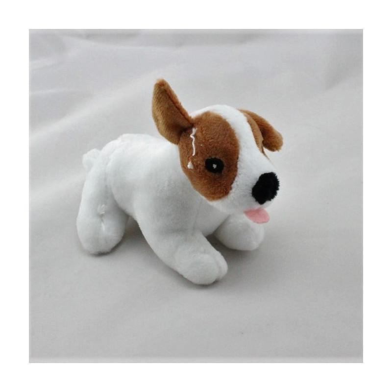 Petit Doudou chien blanc marron  CREDIT MUTUEL