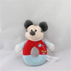 Doudou hochet Mickey rouge bleu arrosoir DISNEY NICOTOY