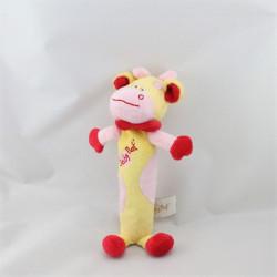Doudou baton vache jaune rose rouge BABY NAT