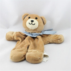Doudou plat ours beige foulard bleu vichy FIBERO