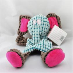 Doudou plat marionnette éléphant bleu rose marron FUNKY VACO
