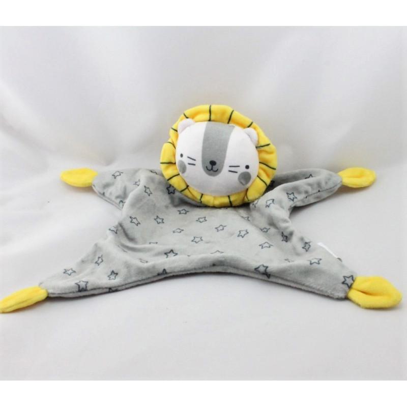 Doudou plat lion gris jaune étoiles ZEEMAN