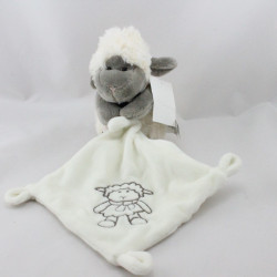 Doudou mouton blanc gris mouchoir I2C KIABI BEBE