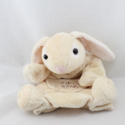 Doudou marionnette lapin écru rose HISTOIRE D'OURS