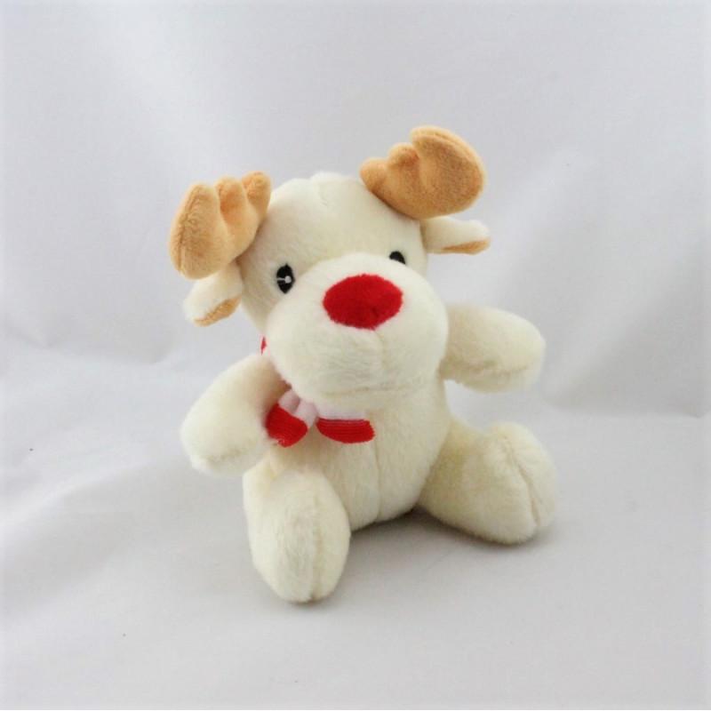 Doudou cerf renne blanc écharpe rouge FIZZY