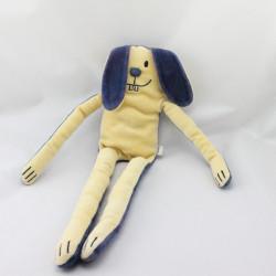 Doudou lapin bleu jaune aux grandes pattes DPAM