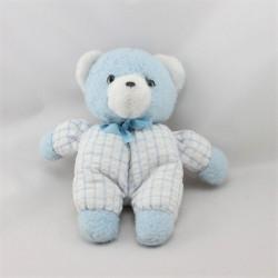 Doudou peluche ours bleu blanc carreaux NOUNOURS