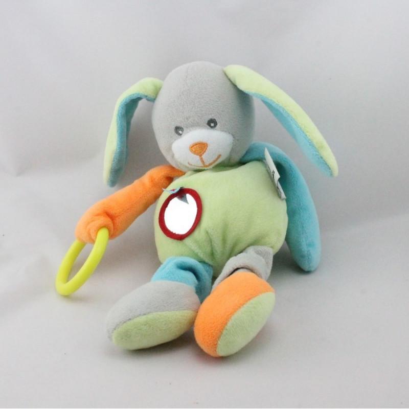 Doudou lapin vert orange gris bleu hochet U TOUT PETITS