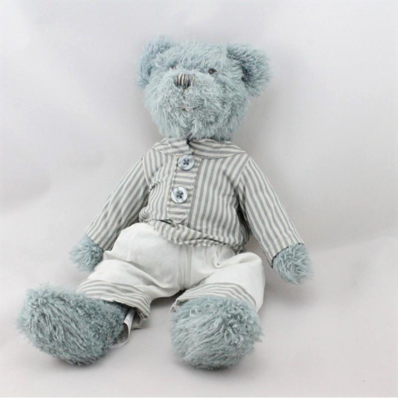 Peluche ours bleu pyjama rayé bleu blanc FRANCE GIFT