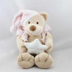 Doudou musical ours beige rose étoile BOUTCHOU BOUT'CHOU