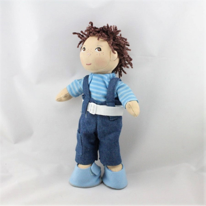 Peluche poupée garçon bleu salopette HABA