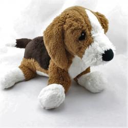 Doudou peluche chien marron noir blanc
