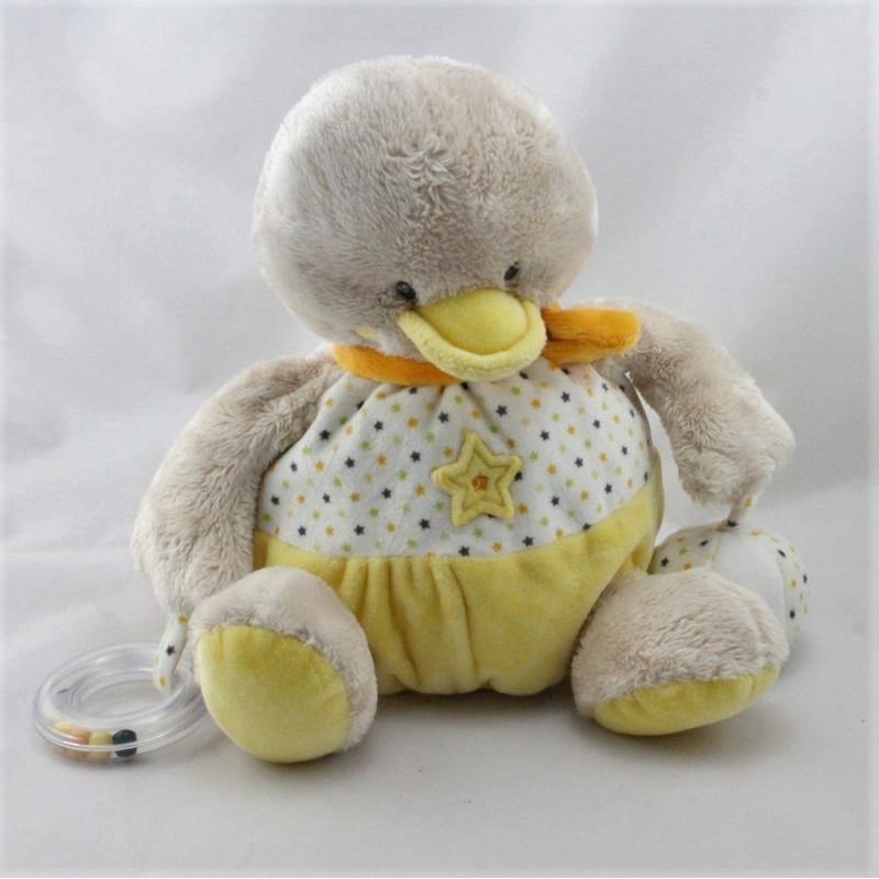 Doudou poussin canard jaune blanc étoiles MOTS D'ENFANTS