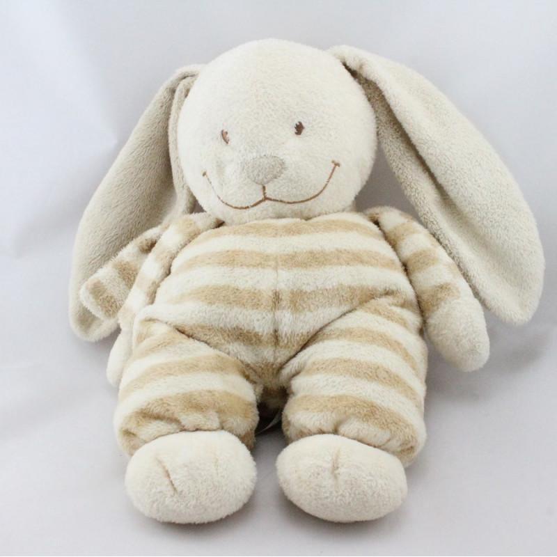 Doudou lapin écru rayé beige NICOTOY
