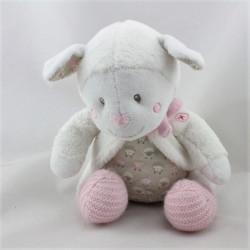 Doudou mouton blanc gris rose NICOTOY