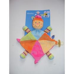 Doudou plat tortue fleur sur la tête multicolore MOTS D'ENFANTS