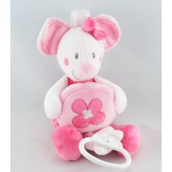 Doudou musical Mimi la souris rose fleurs NICOTOY KIABI
